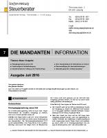 Mandanten-Information Juli 2018