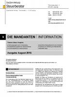 Mandanten-Information August 2018
